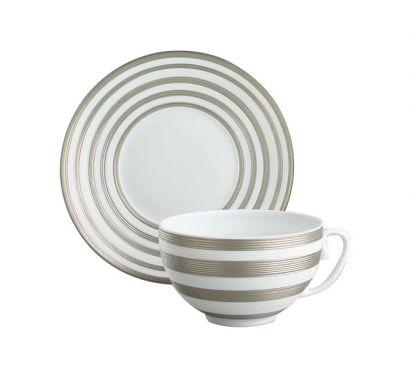 Hémisphère Platinum Stripe Tasse The avec Soucoupe Ø 16,5 cm