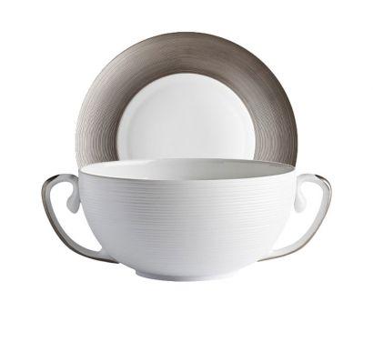 Hémisphère Platinum Bol Bouillon avec Soucoupe Ø 19 cm