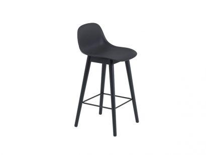 Fiber Bar Stool With Backrest / Wood Base H. 65/75 cm