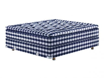 2000T Bed - 180x200 Mattress and Topper Blue Check / Double Base 90x200 / 9 cm Oiled Oak Feet