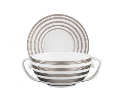 Hémisphère Platinum Stripe Bol Bouillon avec Soucoupe Ø 19 cm