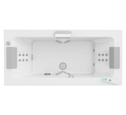 Sharp Double Whirlpool Bath - RH Version With White L Panel