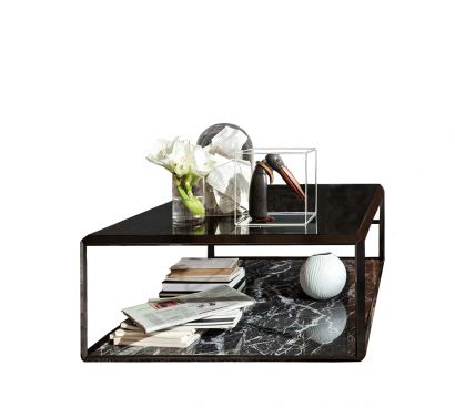 45° Coffee Table - Marquinia Marble/Smoked Glass Top