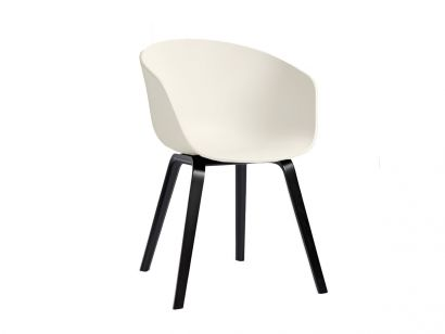 About a Chair AAC22 - Cream Shell/Black stained Oak Legs - Set 4 Chair