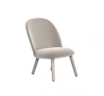 Ace Lounge Chair - Velour Beige/Stained Beech Legs