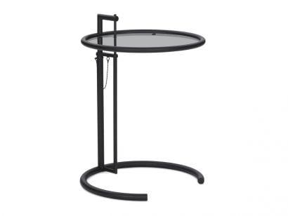 Adjustable Table E 1027 Black/Smoked Glass