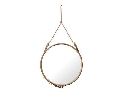 Adnet Circular Wall Mirror - Ø58 Alcantara