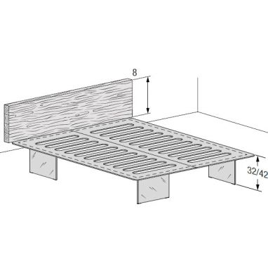 Free-standing base and wall-mounted headboard