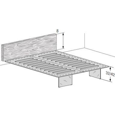 Wall-mounted base and headboard thk 8 cm