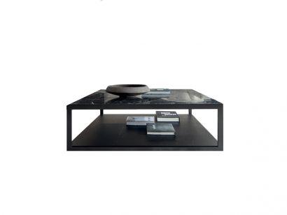 Alisee Square Coffee Table - Verde Alpi Marble / Black Oak / Pewter