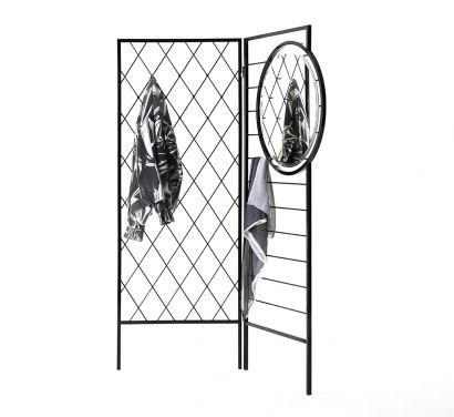 Apparel Coat Hanger / Room Divider RAL 9011 Polished