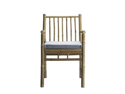 Bamboo Dining Table Chair with Armrest - Grey Mattress