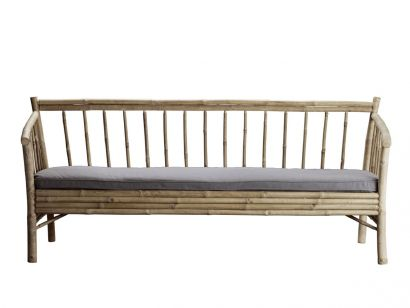 Bamboo Lounge Couch with Cushion - 190 cm