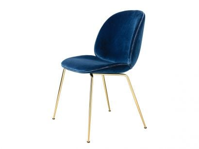 Beetle Dining Chair - Chaise Velours Sapphire Blue 420 / Passepoil Velours Petrolio 414