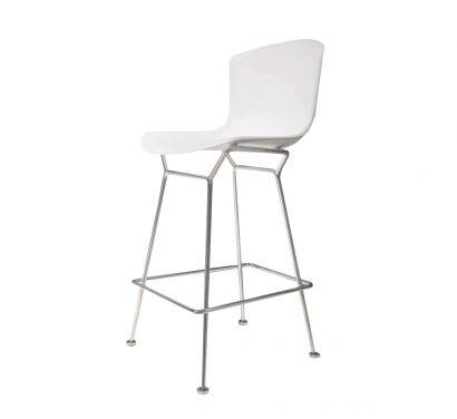 Bertoia Plastic Tabouret Counter - Chrome poli/blanc