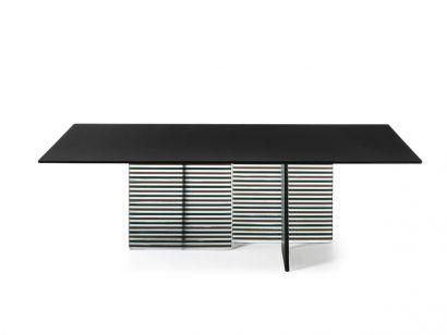 Big Wave Table - Black Slate / Colored DV Glass