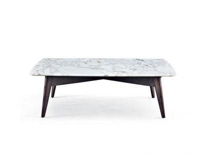Bigger Square Coffee Table - 123x123 / Black Elm / Glossy Calacatta Oro Marble