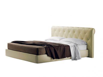 Bluemoon Double Bed - Pelle Frau Nest Madreperla