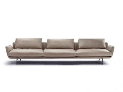Get Back 3-Seater Sofa Medium Arms - Leather SC 40 Cachemire
