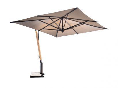 Capri Umbrella 350x350 S01 Canvas - Base Teak/Silver