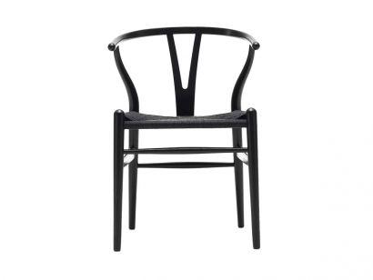 CH24 Wishbone Chair Black Oak/Black Paper Cord