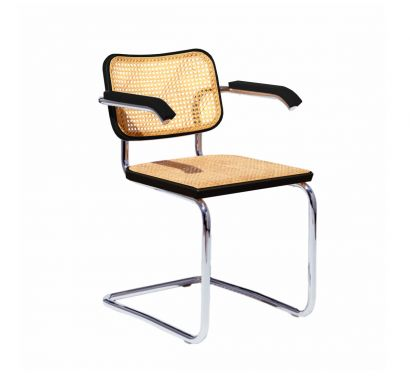 Cesca Chair Black Beech - with Armrests