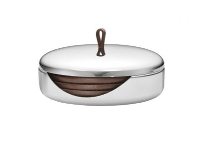 Sky Coaster Set Mirror polished stainless steel, leather