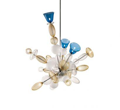 Perseus Suspension Lamp - Crystal / White / Cognac / Bluish