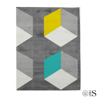 Cubizzmo Bech Grey/Charcoal/Turquose & Yellow Tappeto