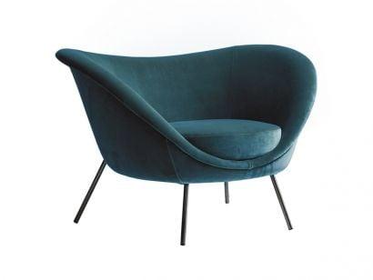 D. 154. 2 Armchair Gio Ponti - Int./Ext. Fabric cat. W WEB W6289 / Black Chrome Legs