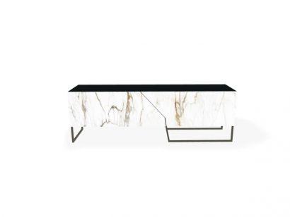 Doppler K Low Sideboard - Matt Anthracite Base / Matt Black Wooden Frame / Calacatta Macchia Vecchia Ceramic