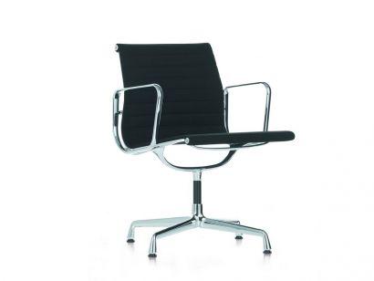 Aluminium Chair EA 108 - Leather 66 Nero / Chrome