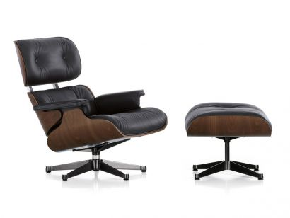 Eames Lounge Chair e Ottoman - Noce Pigmentato Nero / Pelle Premium F Nero 66