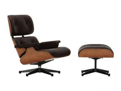 Eames Lounge Chair & Ottoman - Cerisier américain/Cuir Premium Noir 66