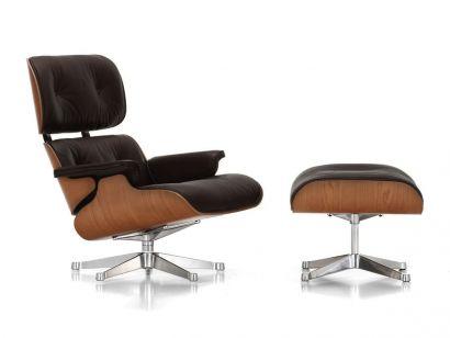 Eames Lounge Chair & Ottoman - Ciliegio Americano/Pelle 66 Nero/Lucido