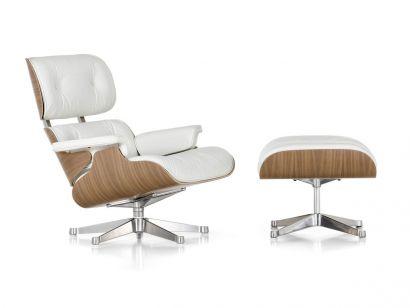 Eames Lounge Chair & Ottoman - Noyer pigmenté blanc/Cuir Snow