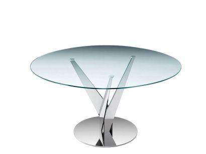 Epsylon Round Table - Ø 140 cm - H. 75 cm / Transparent Glass Top / Chromed Legs