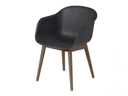 Fiber Armchair - Wood Base Muuto by Iskos-Berlin Black/Stained Dark Brown