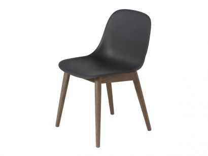 Fiber Side Chair - Wood Base Muuto by Iskos-Berlin Black/Stained Dark Brown Oak