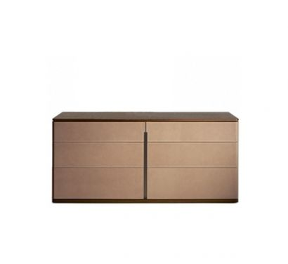 Fidelio Notte Chest of Drawers - Canaletto Walnut/Saddle Extra Corda