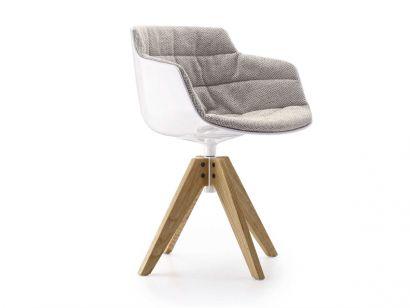 Flow Slim Chair VN 4-Legged Oak Base/White Shell - Monaco 001