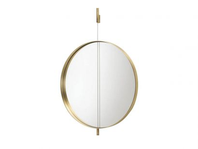 Galileo Mirror Wall-L.90 cm - P.6 cm - H.158 cm-Bronzed Galvanic