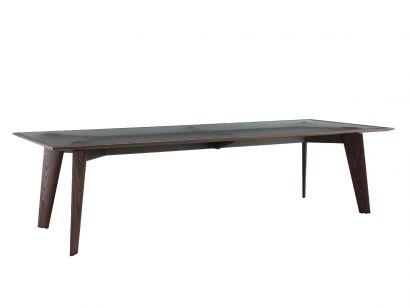 Howard Table - Plateau en Orme Noir / Verre Fumé