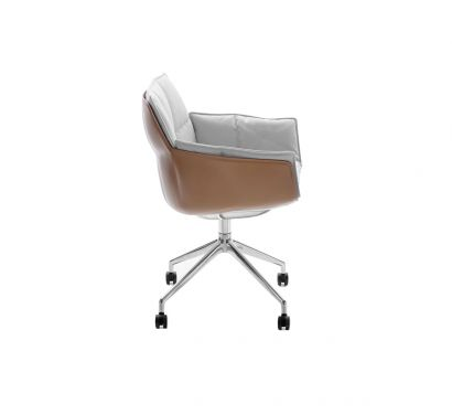 Husk Chair 4 Star Base with Whells Leather Shell / Fabric Cushion