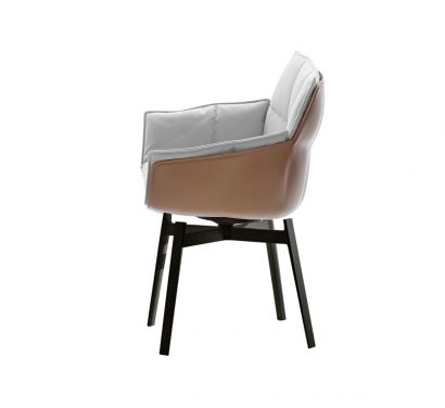 Husk Fixed Chair Leather Shell / Fabric Cushion