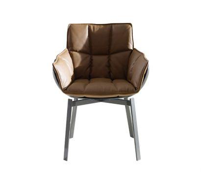 Husk Swivel Chair Leather Shell / Fabric Cushion