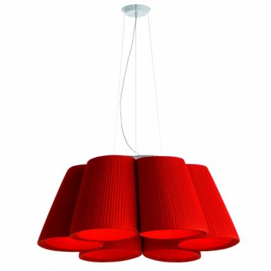 Florinda Pendant Lamp 6 Red Plissè