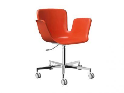 Juli Plastic Swivel Chair - Orange RAL2002 / Polished Aluminium 412