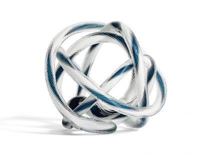 Knot No.2 Sculpture en Verre - L Ø. 20 cm - Teal & White