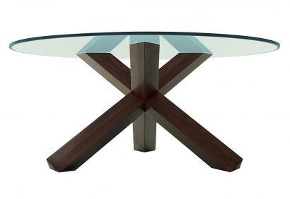 452 La Rotonda Table - Walnut stained Ash/Crystal Top